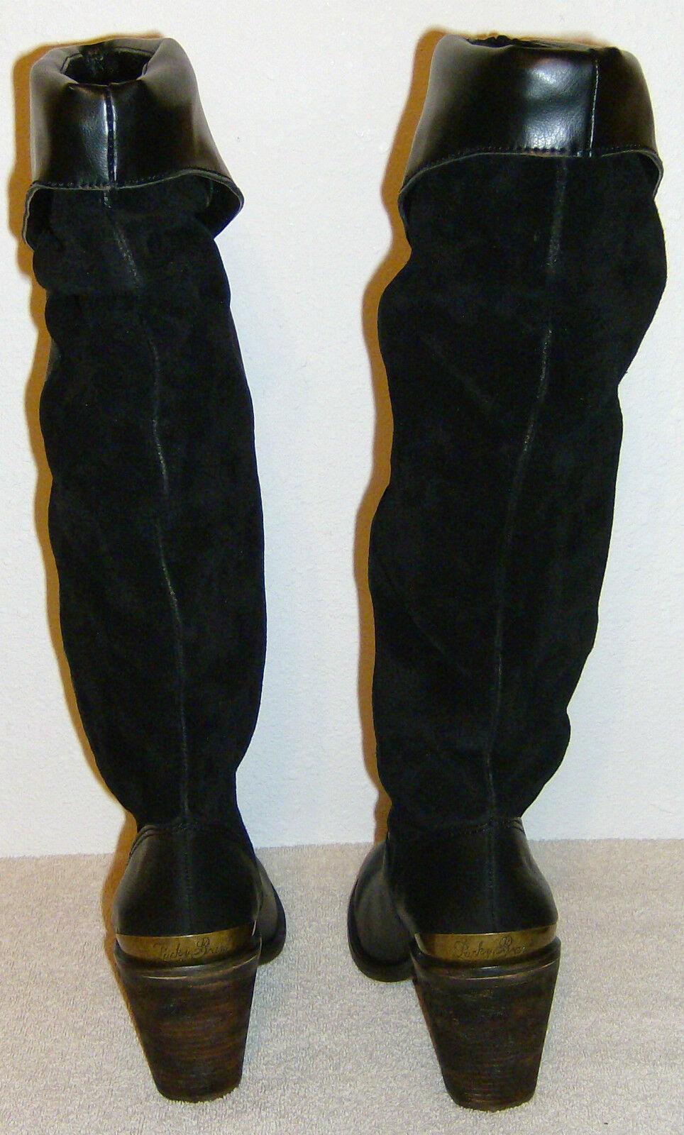 Womens Boots Lucky Brand Sz 5.5  Medium Black Black Black LK-Edina Goat Lenia Oiled SDE NEW 46eb8d
