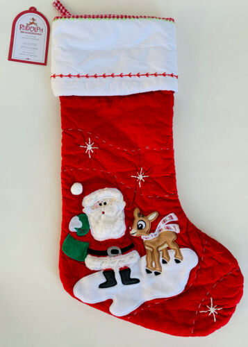 NEW Pottery Barn KIDS Santa with Rudolph® Quilted Christmas Stocking~Red~NO MONO
