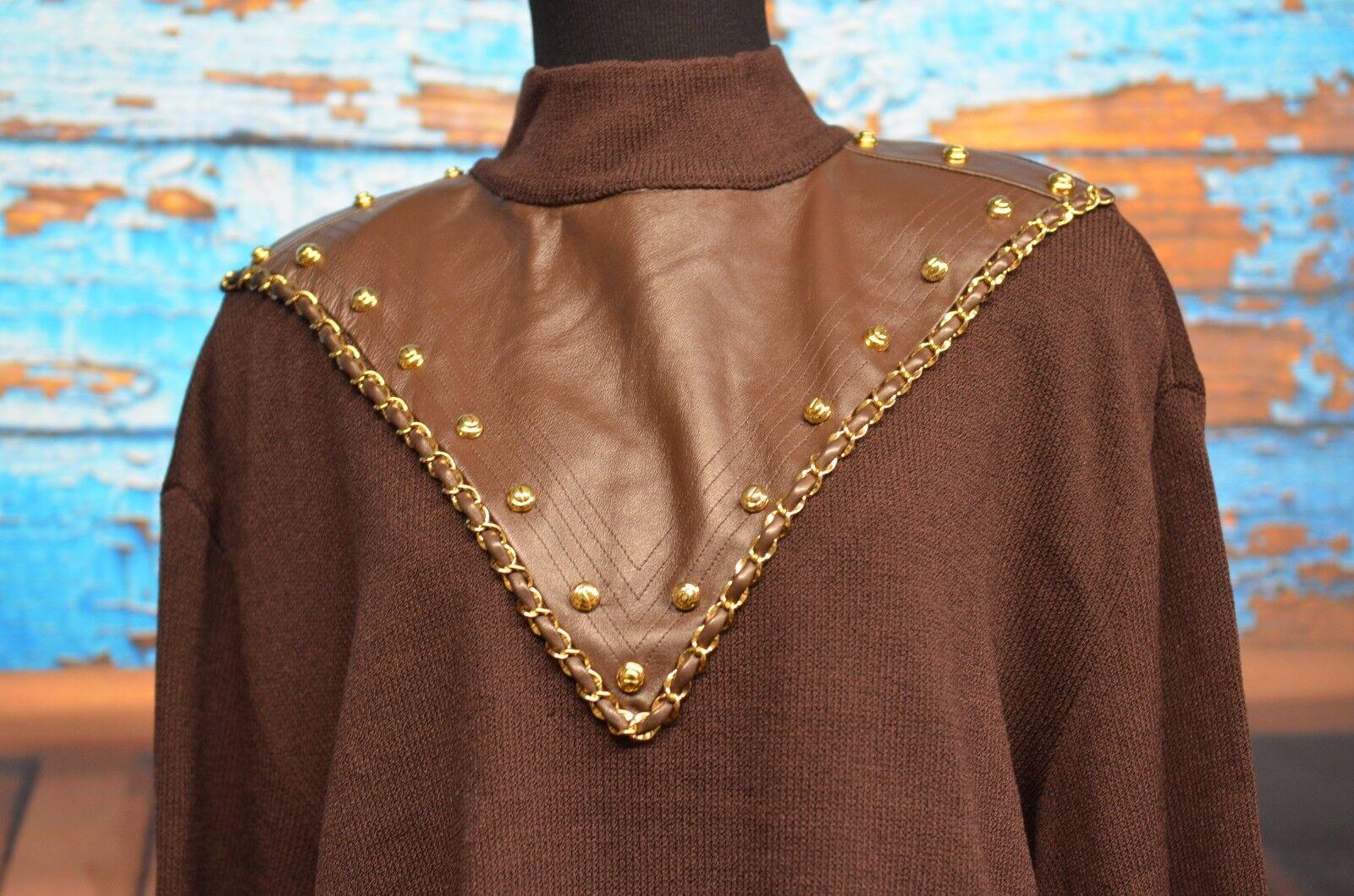 St John talla L marrón  Suéter de punto (detalle de cuero de imitación) oro Metálico Cadena tachuelas  nueva marca