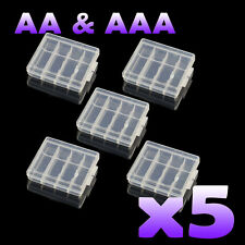 5 x AA AAA Battery Cases - Safe Storage Holder  Rechargeable Batteries Hard Case