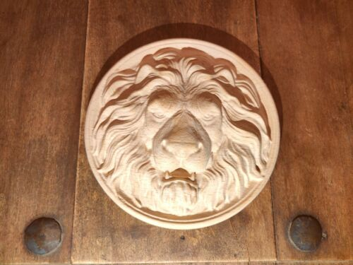 Lion Head Applique Carved Beech Wood Rustic moulding furniture Door decor 2X Set
