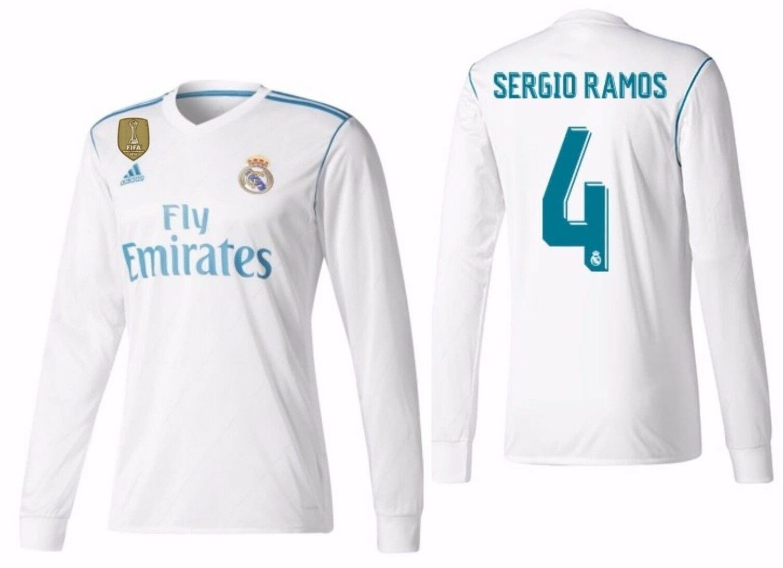 Adidas Sergio Ramos Real Madrid Manga Larga Home Jersey 2017 18 Fifa con Parche