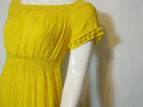 WAREHOUSE YELLOW TIERED POM POM BOHO MIDI DRESS RRP £70 Sizes 6 to 16