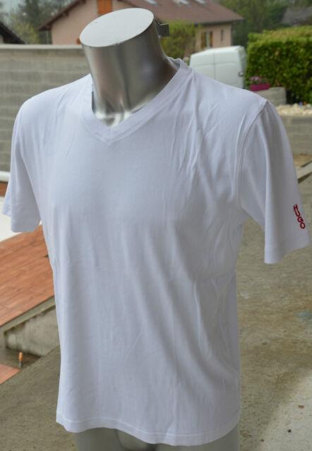 "Hugo Boss /""Dartin/"" Men/'s White Deep V-Neck Short Sleeve T-Shirt Size L XL 2XL"