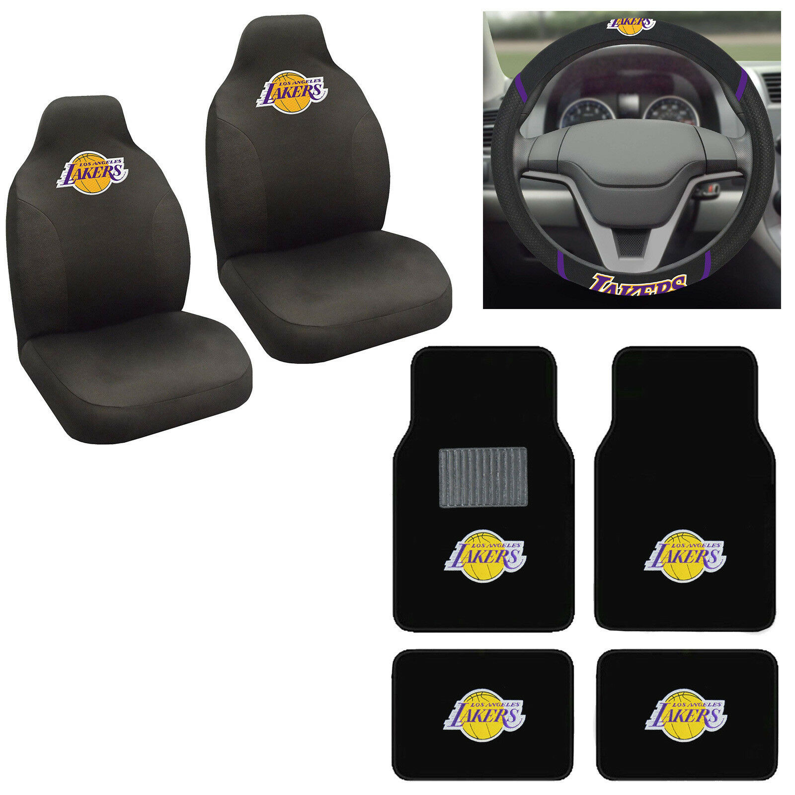 7pc NBA Los Angeles Lakers Car Truck Seat Covers Floor Mats Steering Wheel  Cover