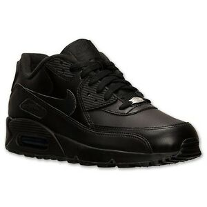 low priced d5dcf e2394 Image is loading NIKE-AIR-MAX-90-LEATHER-BLACK-MENS-RUNNING-