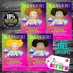 Personalised birthday invitations mad science party x 5 ebay image is loading personalised birthday invitations mad science party x 5 filmwisefo
