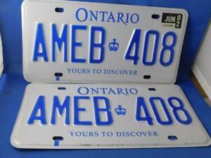 ONTARIO-LICENSE-PLATE-LOT-2002-JUNE-AMEB-408-PAIR-SET-CANADA-CAR-SHOP-SIGN