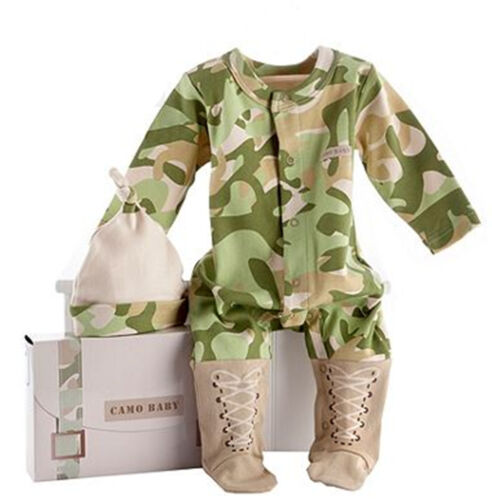 hat Boy Baby Army Military Pilot Party Cotton Camouflage Camo Romper Bodysuit