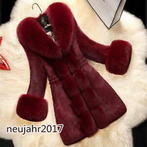 Fuchshaar-Damenmode-Jacken-Pelzmantel-Luxus-Nachgemachte-Faux-Kaninchenfell