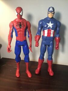 Marvel-Spiderman-amp-Captain-America-12-inch-Action-Figure-Lot-2013-Hasbro