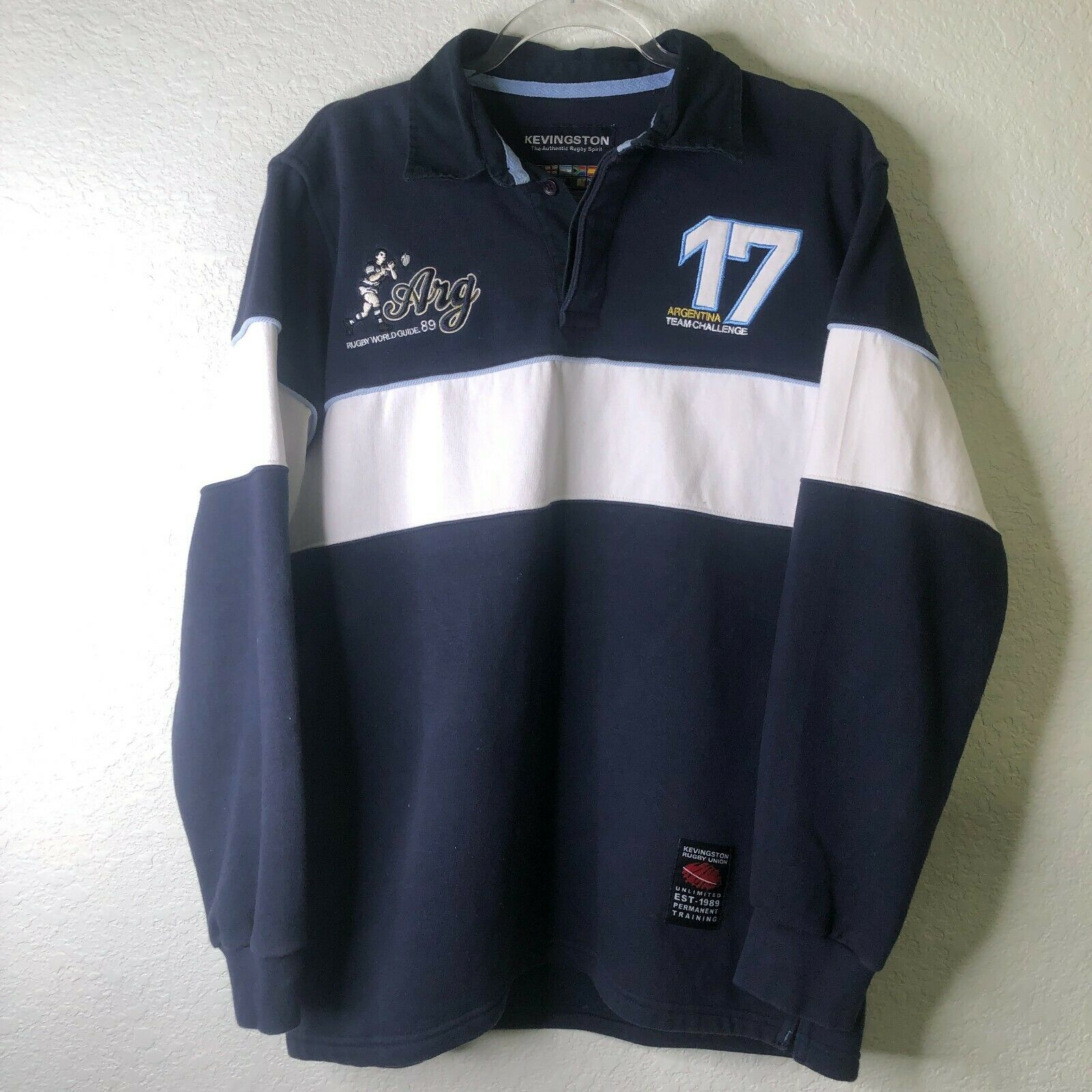 Blue//White M S New Kappa Men/'s Argentina 1978 Classic Polo Shirt