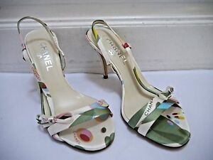 bf11b851a046 NEW CHANEL print satin strappy sandals heels bow and logo details ...