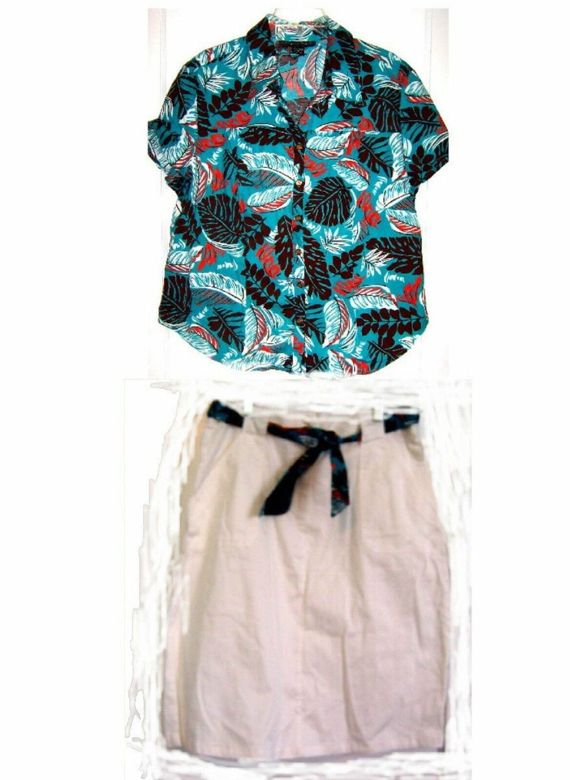 Mirror Image White Skirt w Leaf Print Belt & Top Sz 1X Top L Ski