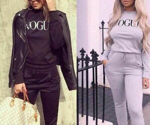 Women Ladies Vogue Print Two Pcs Loungewear Set Suit Tracksuit New UK 8-22