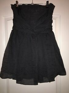 Navy-Strapless-Dress-With-Lace-Underlay-Topshop-Size-10-Petite