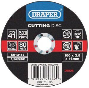 Genuino-Draper-Plano-Discos-de-Corte-para-Metal-100-x-2-5-x-16mm-26826