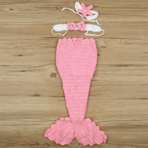 Newborn Photography Knit Mermaid Tail Headband Costume Baby Photo Props Outfit