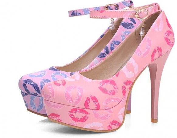 Décollte Zapatos zapatos de salón correa de la mujer talón 11 cm plataforma 3 cm