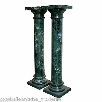 Complementi D'arredo Clever Coppia Colonne In Marmo Verde Alpi Green Marble Pair Column Made In Italy H100cm