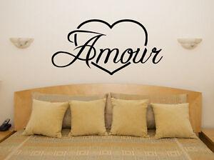 Amor-En-El-Frances-Amour-Corazon-Lema-Dormitorio-adhesivo-para-habitacion-pared