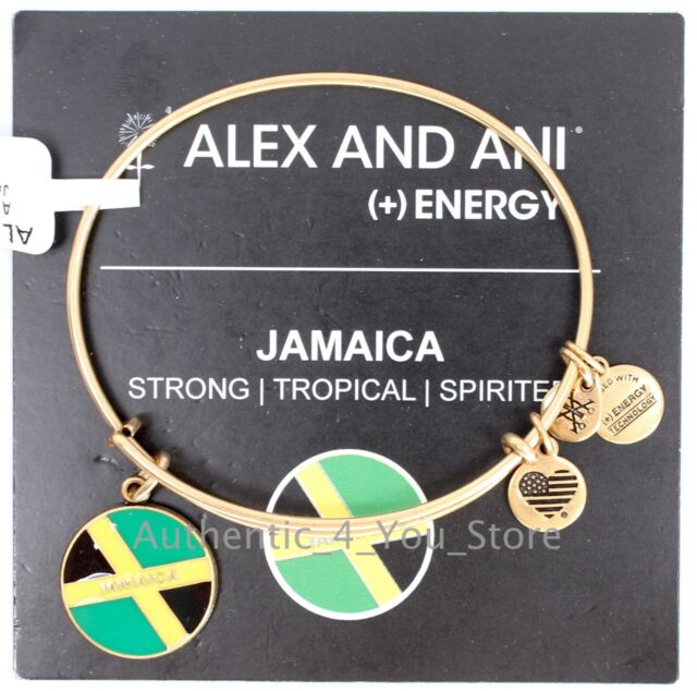 New Alex And Ani Jamaica Flag Gold Enamel Charm Bangle Bracelet