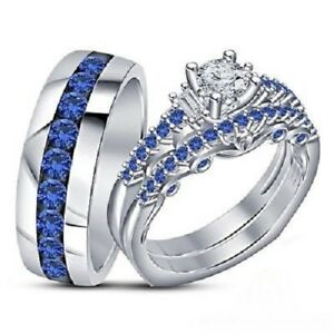 Blue Sapphire Trio Wedding Ring His And Hers Bridal Bands Set