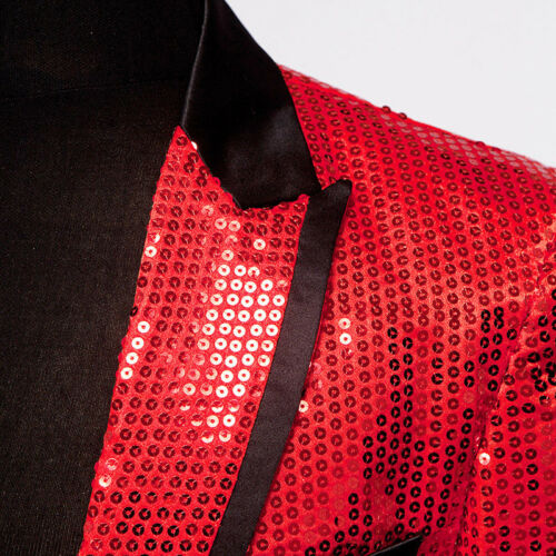 Mens Sequin Jacket Suit Blazer Cabaret Carnival Fancy Dress Outfit Stage Costume