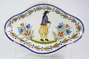 ANTIQUE-FRENCH-HENRIOT-QUIMPER-HAND-PAINTED-PLATE