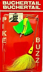 🌟 Vintage BucherTail Green Yellow Chartreuse Pike Buzz Spinnerbait Fishing Lure