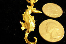 bling gold plated sea horse fish pendant charm 24 inch chain hip hop necklace gp