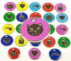 Cat-Dog-Tag-Quality-20mm-PET-ID-Tags-9-Colours-amp-Designs-ENGRAVING-OPTIONS