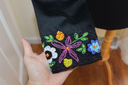 Sort Cotton L Indian identitet sz Jacket Blomster Elegant Southwest Beading Ny PxaqZIpXnw