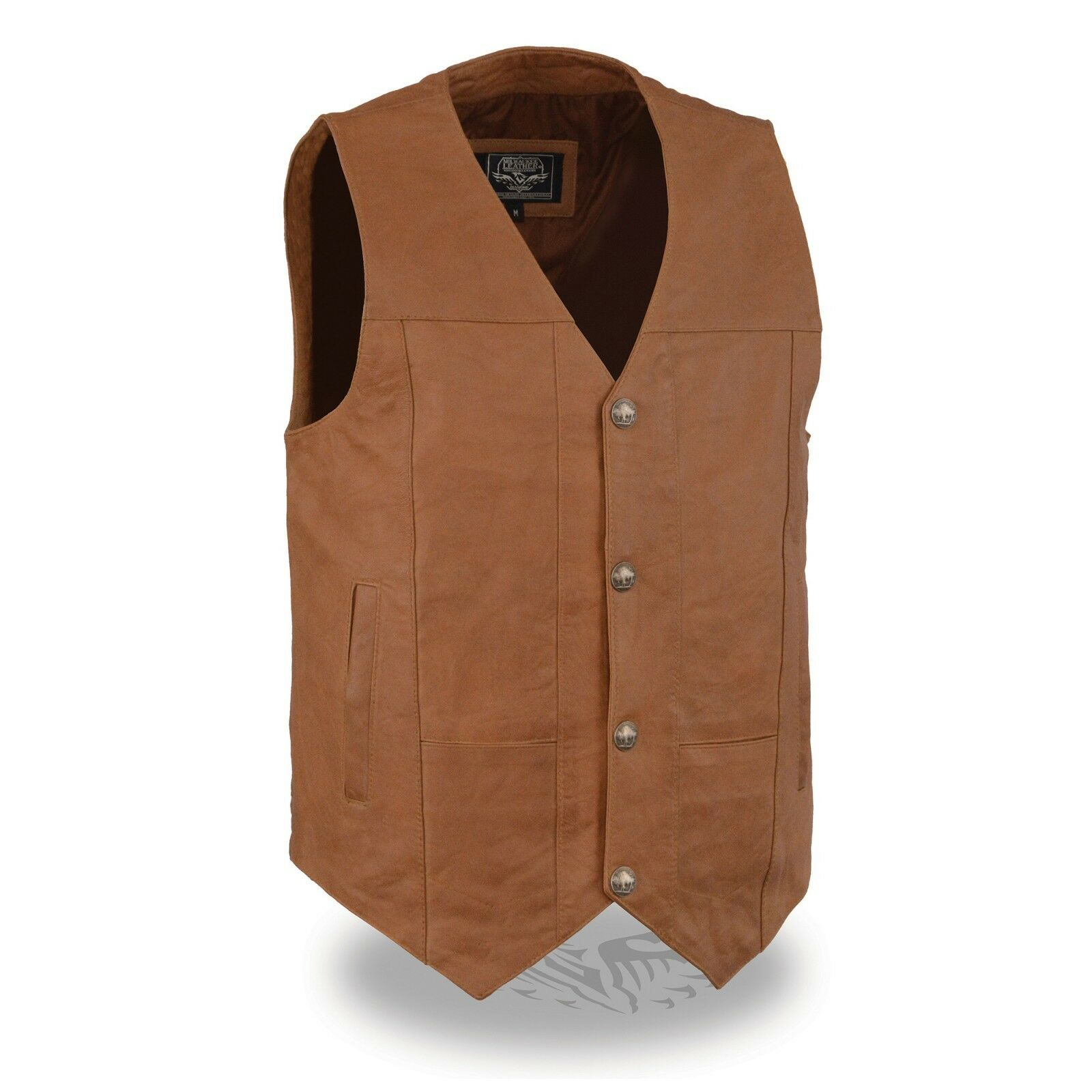 Milwaukee Leather Men's Western Style Plain Side Vest W  Buffalo Snaps LKM3702