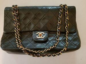 Image Is Loading Authentic Black Caviar Chanel Medium Large Classic Flap