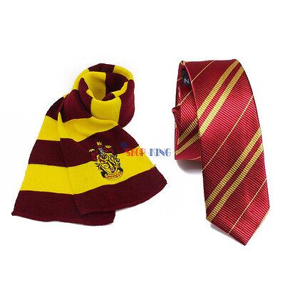 2pcs Harry Potter Gryffindor Scarf + Tie Set Halloween Costume Cosplay Xmas Gift