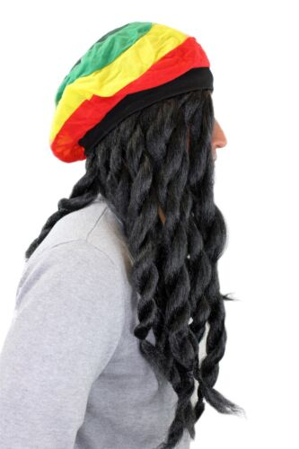 Carnival Wig /& Rasta Hat Jamaica Reggae Pseudo-Dreadlocks 68901