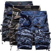 Mens Summer Casual Slim Fit Cotton Solid Multi-Pocket Cargo Shorts Short Pants##