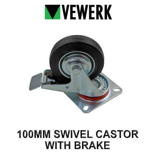 VEWERK industriel pivotant 100 mm Castor Roue Avec Frein De Roue En Caoutchouc x 1 9093