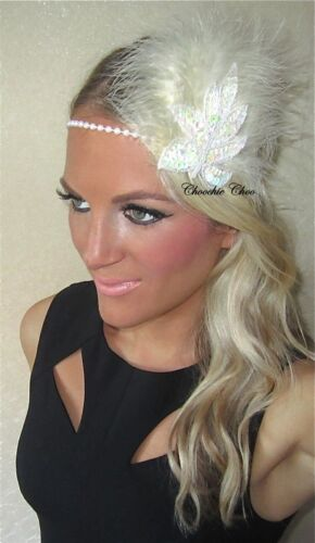Ivory Pearl Iridescent Sequin Feather 1920/'s Charleston Flapper Head Hair Band