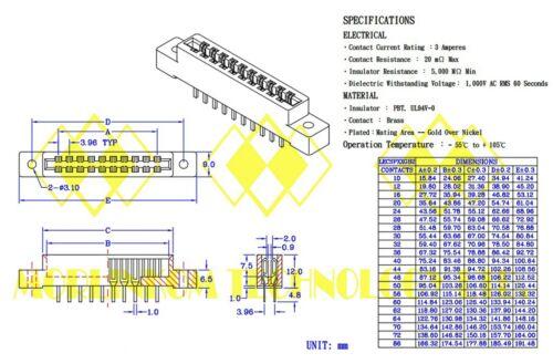 Carte 100pc Edge connecteur LW-N12A2G 12Px2 Pitch = 3.96 mm Solt Socket Carte De Circuit Imprimé Pin
