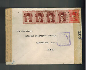 1940-Cairo-Egypt-Dual-Censored-Cover-to-USA-national-Geogrpahic-Society