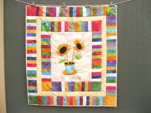Pieced-amp-Appliqued-quilt-54-x-60-Lap-bed-topper-Wall-hanging-sunflowers-Batik