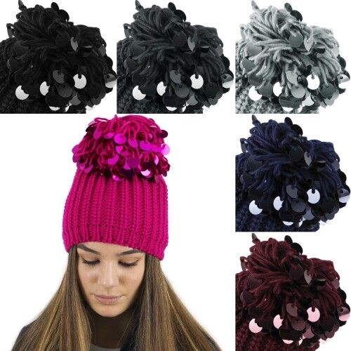 New Ladies Chunky Knitted Ski Hat with Huge Sequin Pom Pom by RockJock Xmas Gift