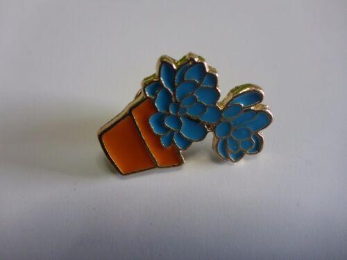 Cacti Succulent Hat Lapel Pin Brooch Blue Echeveria Orange Pot Cactus 30 x 20 mm