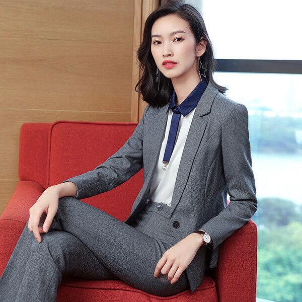 Dimensioneur completo donna grigio giacca a manica lunga e pantalone slim cod 7150