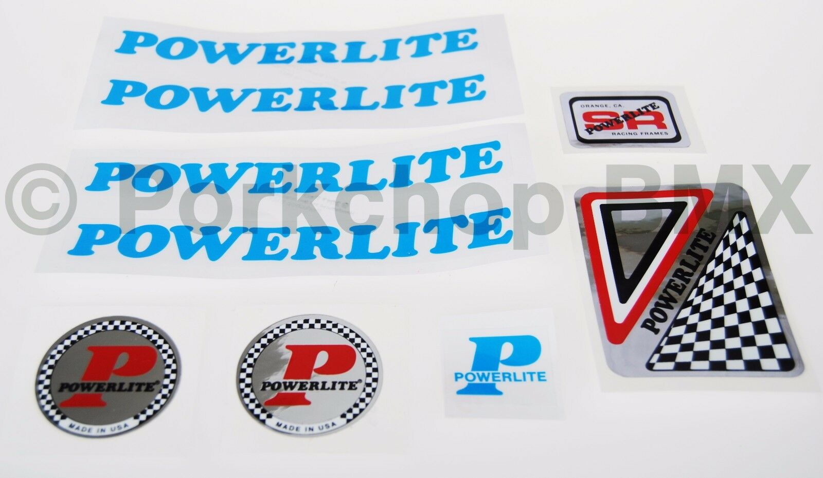 Officially licensed 1978-83 Powerlite old school BMX decal SET SOLID LIGHT blueE