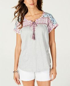 Style-amp-Co-Womens-Knit-Top-Gray-Size-Small-PS-Petite-Tie-Neck-Printed-49-412