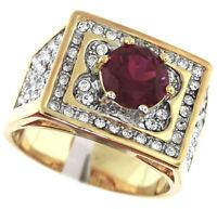 Red Ruby Splash Italian Design Two Tone Gold Ep Mens Ring