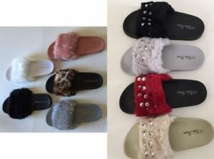 Womens-Flats-Fur-Slip-On-Comfy-Flip-Flop-Slider-Slippers-Rubber-Sandals